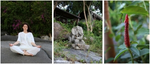 meditation & elephant sculpture & flower